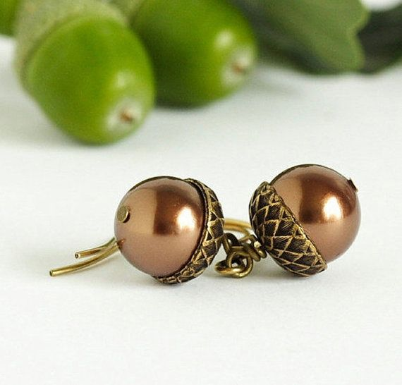Acorn Earrings  Brass and Bronze Pearls  For by JacarandaDesigns, $20.00 - LOVE THESE!!!
