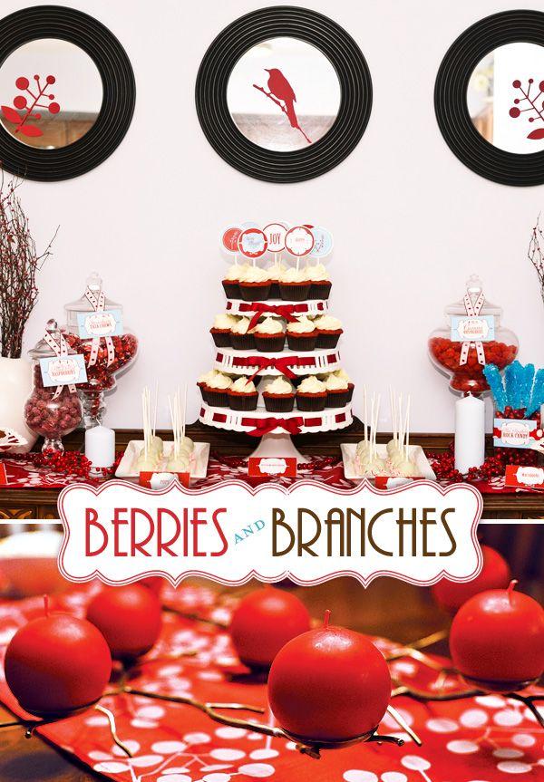 So classyShower Ideas, Christmas Parties, Holiday Parties, Berries Parties, Red, Art Christmas, Christmas Theme, Parties Ideas, Party Ideas