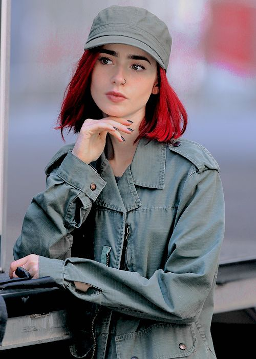 Lily Collins on the set of her new movie Okja.
