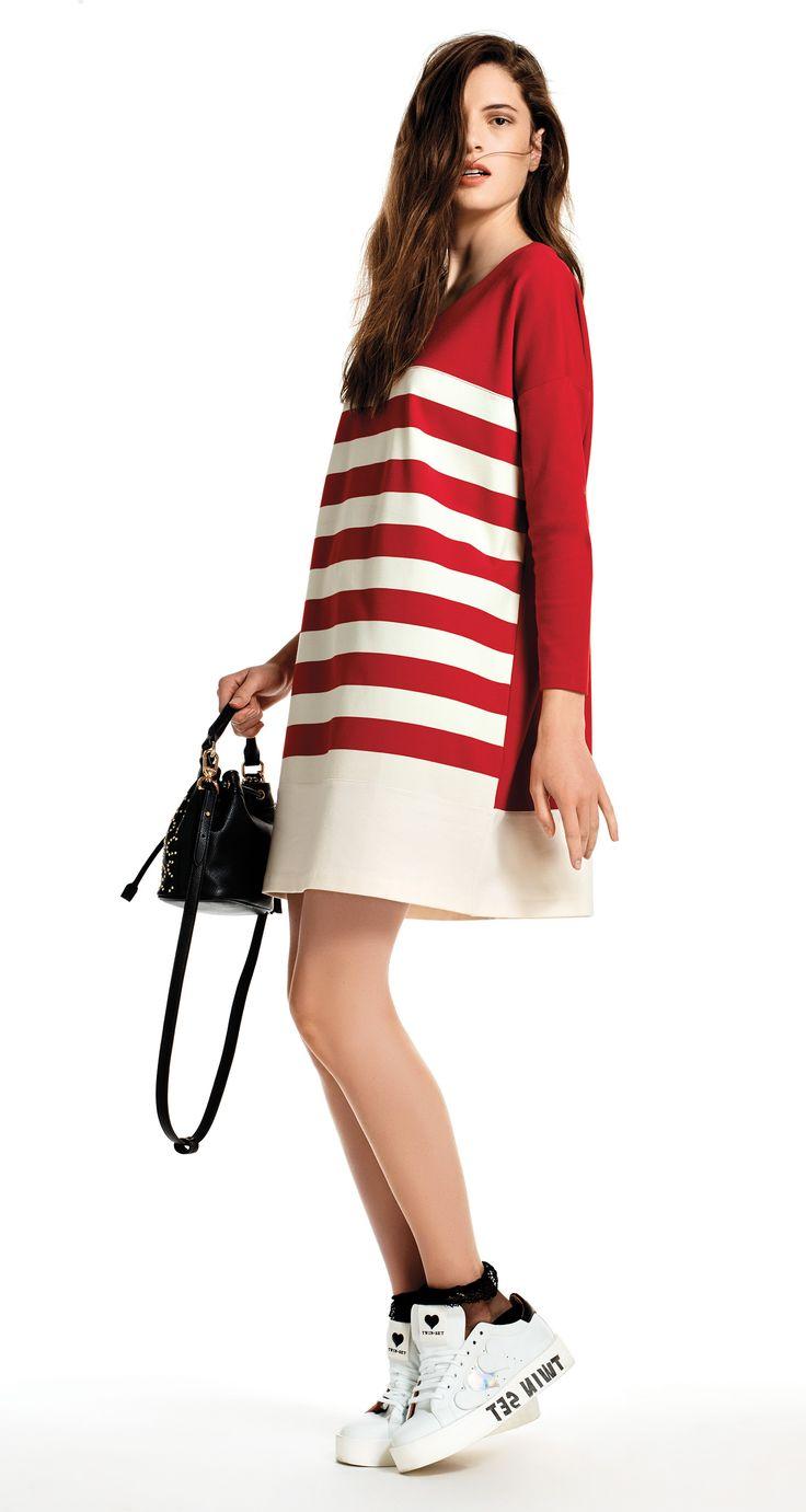TWIN-SET Simona Barbieri, 2016 Summer collection: striped Milano stitch jersey long tank top dress, code KS62LP.
