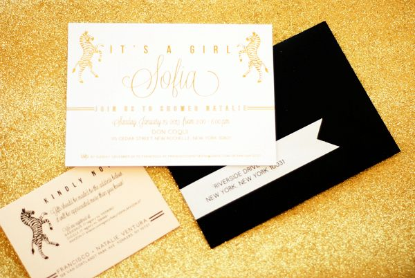Oh So Beautiful Paper: Natalie's Gold Foil Zebra Baby Shower Invitations