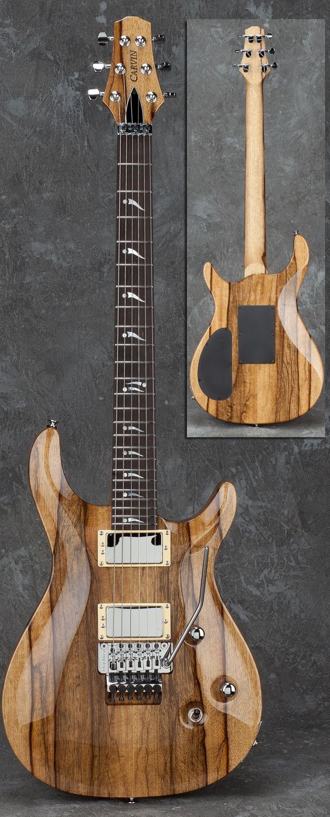 Carved-top Carvin with black limba body/neck/top (Carvin's new wood offering).