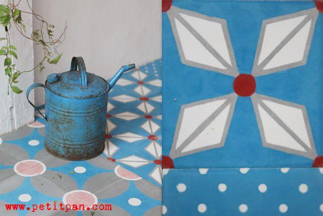 carreaux de ciment PETIT PAN/CAROCIM 20x20 ep.10 (mur) ou 16cm (sol) 5,05€ l'unité soit 126,21€/m2