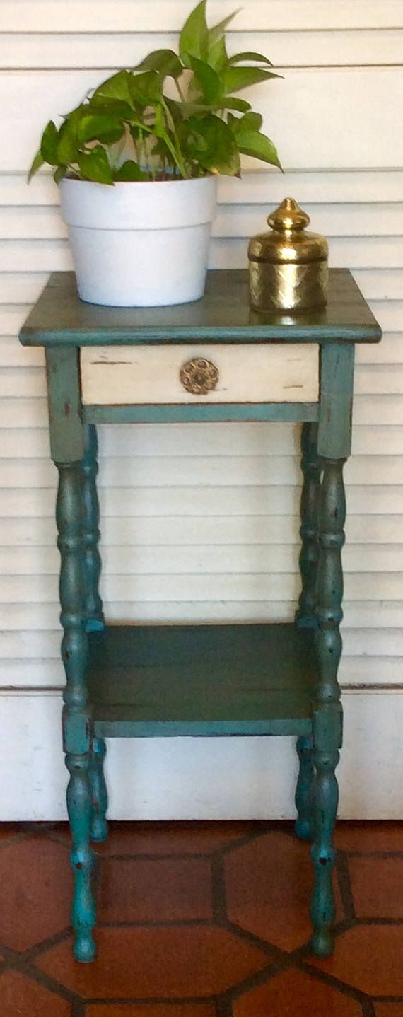 Blue Distressed Nightstand/End Table Vintage 1940s