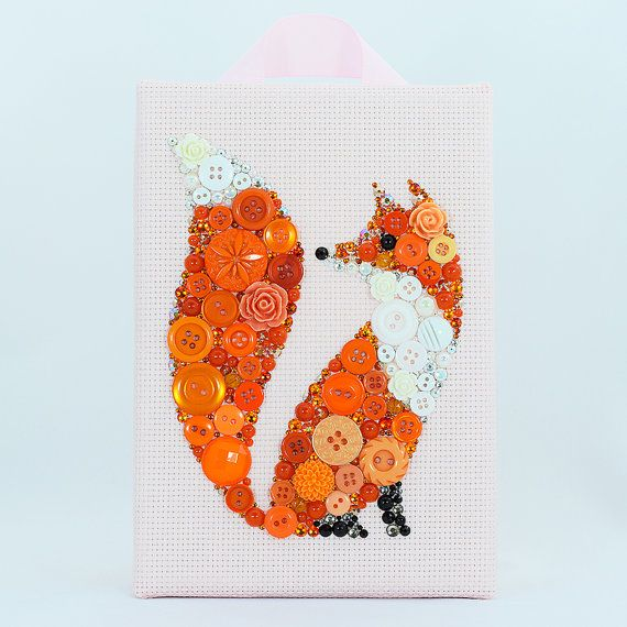 Button Art  Red Fox  Handmade Vintage Button by PaintedWithButtons