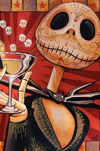 Jack Celebrates The Dead by Mike Bell Tattoo Art Print Monster Skull Pop Culture | eBay