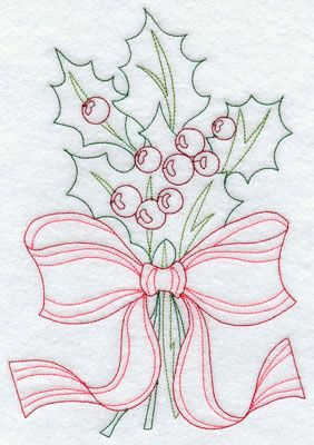 Holly wrapped in ribbon machine embroidery Redwork design.