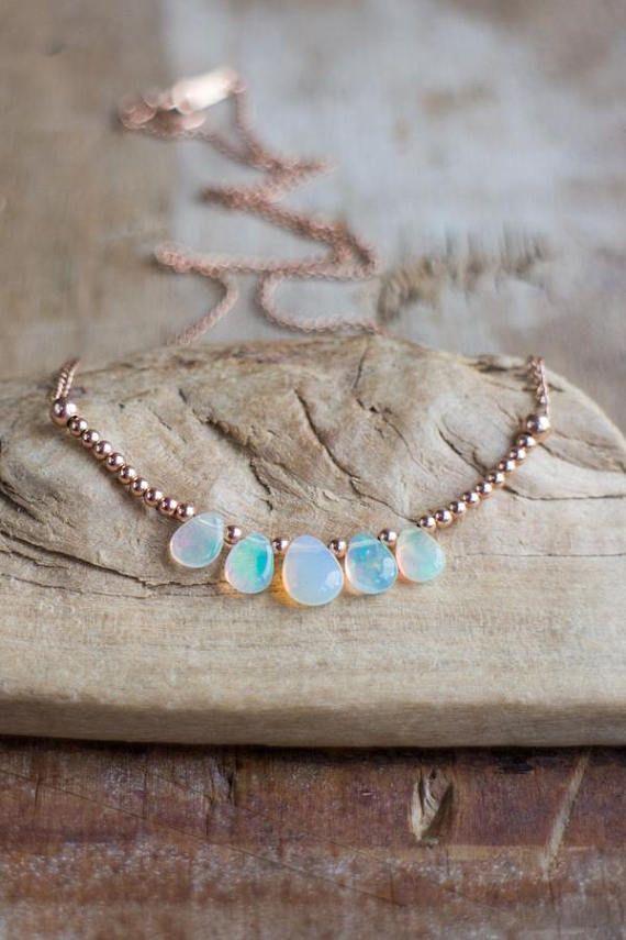 Opal Halskette in Silber Gold oder Rose Penta Opal Anhänger