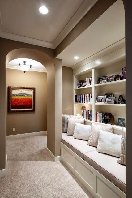 Basements that you will never ever want to leave......... - The Enchanted Home || Cute little nook for what would have been a wasted, long narrow space!