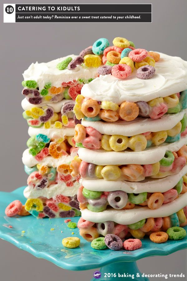"""Nothing epitomizes the Kidult trend more than favorite childhood cereals re-imagined into grown-up style desserts.  Here, colorful fruity cereal forms the five layers for a """"cake"""" children of all ages can appreciate.  The Easy Layers! cake pan set is used to mold the layers to perfect size."""