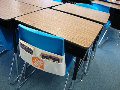 Nail Aprons for individual desk storage. Amazing idea. Ask HD for a teacher discount... Also, see if paper can fit in them. Might keep students from having to get up all the time. Keep pens, ruler, etc. in the pouch for easy access.