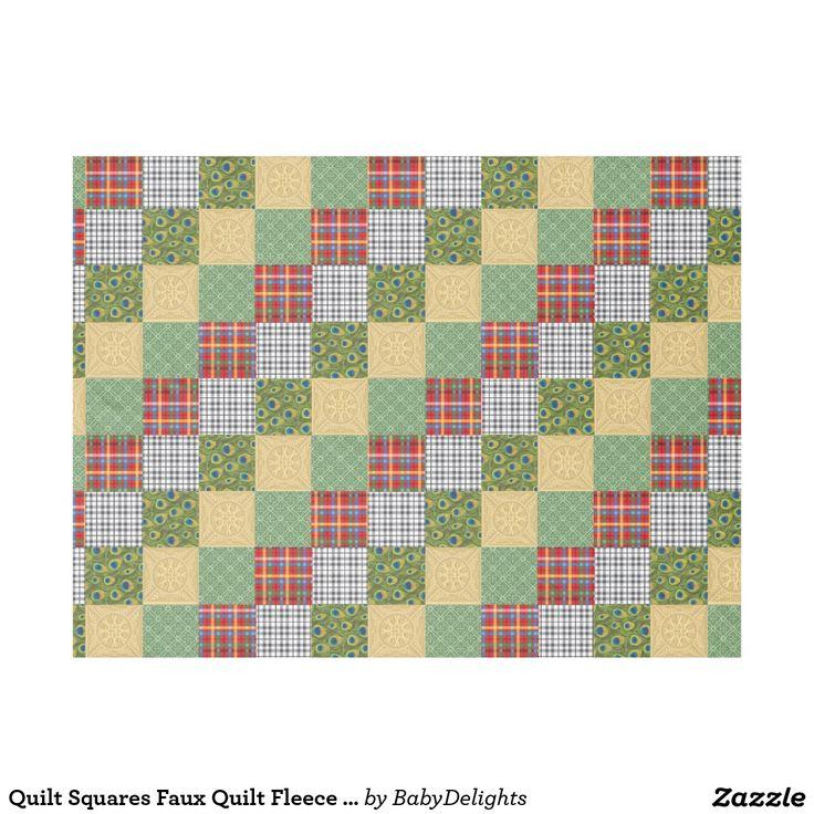 Quilt Squares Faux Quilt Fleece Blanket