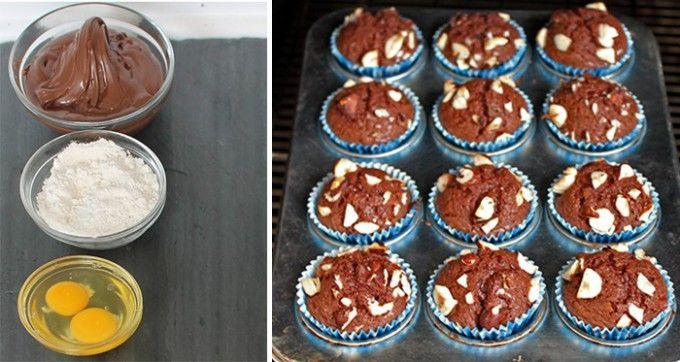 Nutella-Muffins in 5 Minuten zubereitet