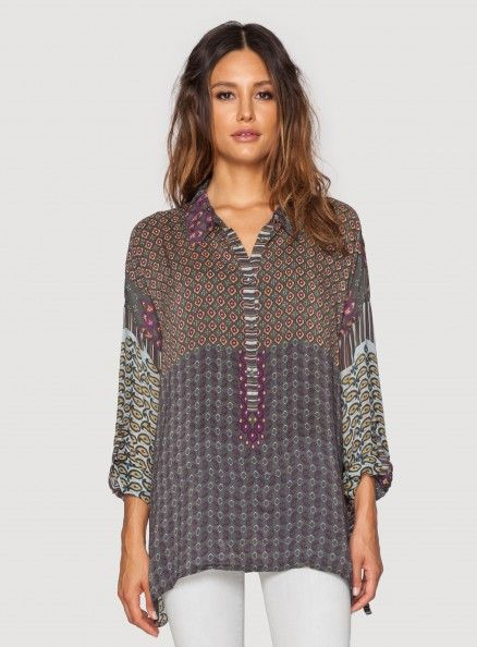 Johnny Was Printed Georgette Radiant Oversized Top #bohochic #newin #johnnywas