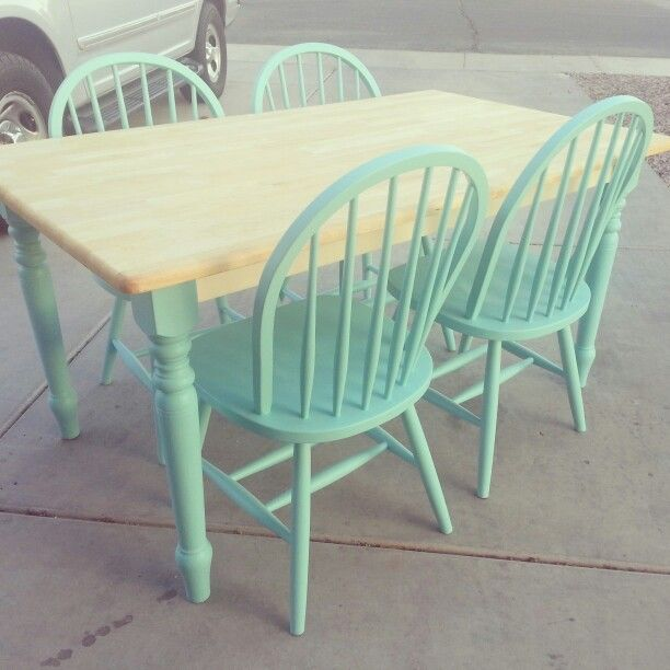 Kitchen table re-do #diy #mint #shabbychic