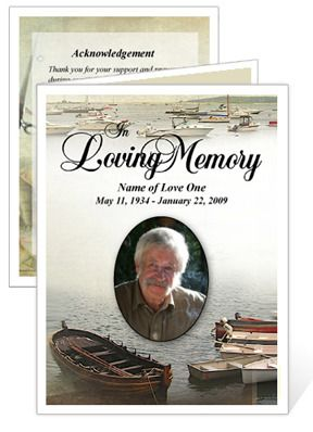 #FishingFuneralCardTemplate With Preprinted Title have an exclusive fishing themed mini funeral program template displays everything this hobby has to offer for the loved one who enjoyed this favorite pastime.