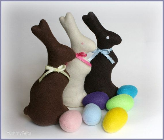 Felt Chocolate Easter Bunny from Etsy - Love this for my son's first Easter Basket -  he's not old enough yet for the real thing!