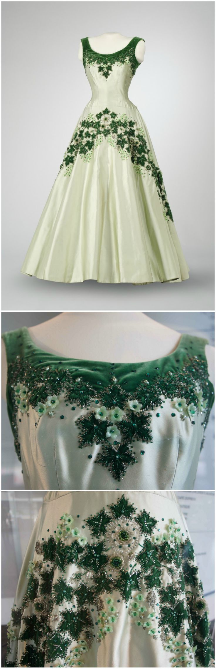 """Maple Leaf of Canada"" dress, designed by Norman Hartnell, London, 1957. Worn by Queen Elizabeth II at a state banquet at Rideau Hall, Ottawa, in 1957. Photos (Top): Musée de l'histoire 
