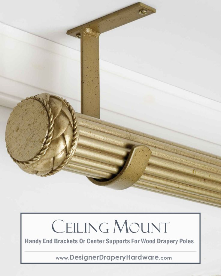 Simple and fast ceiling mount installations for wood drapery hardware! Can be used for end or center supports. http://www.designerdraperyhardware.com/select-drapery-rods-2-1-4-inch-wood-drapery-brackets-6-3-4-inch-drop-metal-ceiling-bracket-31531/ #homeDecor #interiorDesign #curtains
