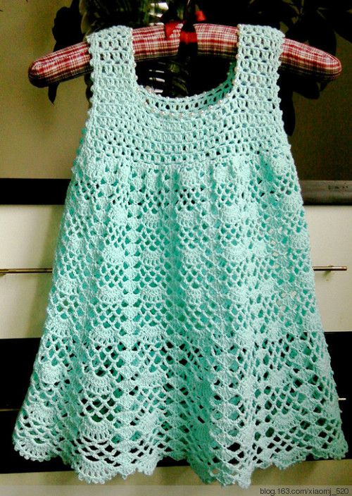 Girl's dress, crochet - no English instructions but there are charts.  (This open shell pattern might be nice adapted to a baby blanket)