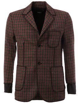 exposed seam checked blazer