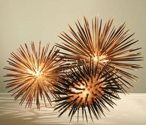 Sea urchin lamps made with chopsticks