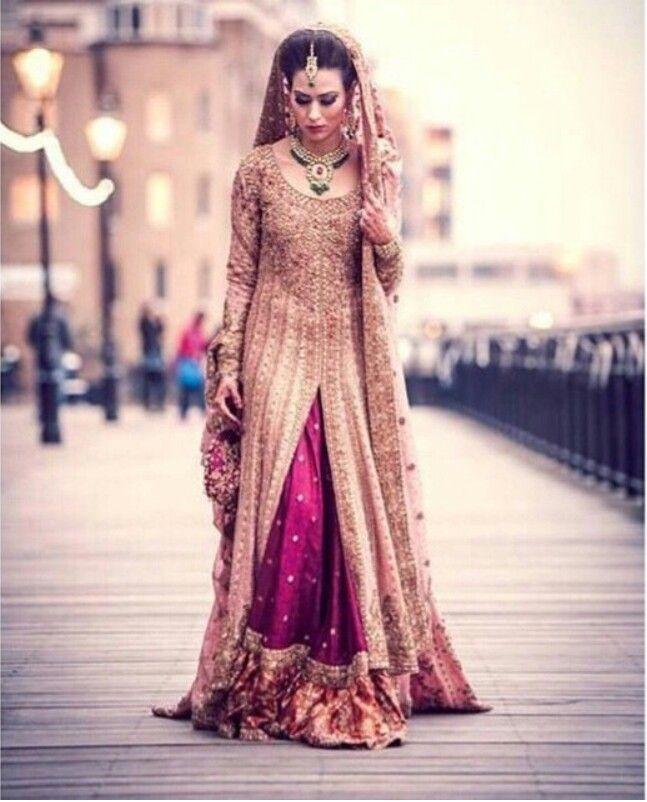 Gold and magenta bridal lengha