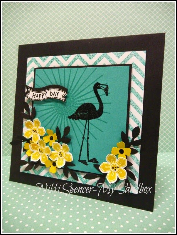 Nikki Spencer-My Sandbox: Just Add Ink #231....Colour! Stampin' Up! Flamingo Lingo, Kinda Eclectic