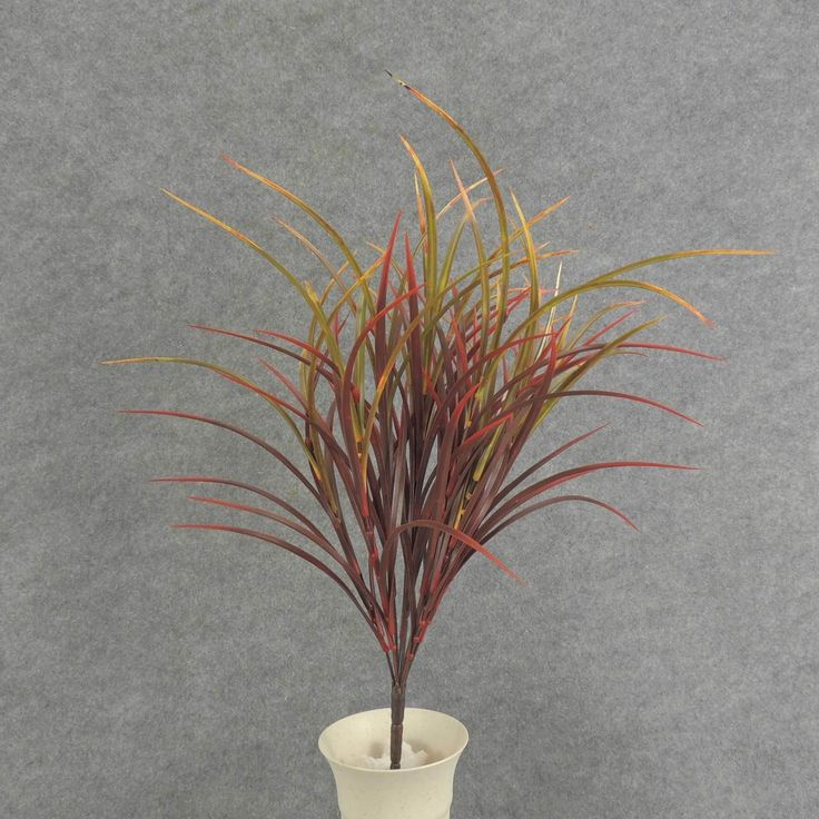 1 Pc, 20 Inch Tall Artificial Dark Red & Green Grass Bush, Wild Plastic Grass Blades In Red-Burgundy Color & Tipped With Greens