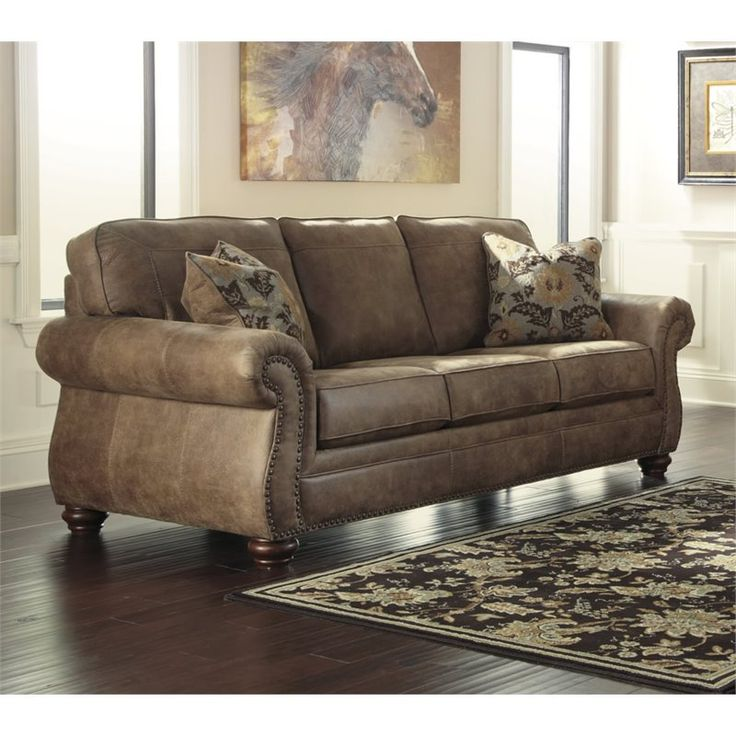Ashley Larkinhurst Faux Leather Sofa In Earth