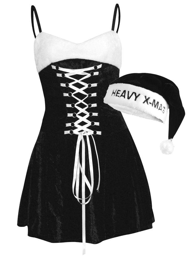 """Weihnachtsfrau Kleid mit Mütze Weihnachts-Damenkostüm schwarz-weiss aus der Kategorie Karnevalskostüme / Weihnachtskostüme. Wer kein Freund von Kirchenchören und altbackenen Weihnachtsliedern ist,  setzt mit """"Heavy X-Mas"""" auf ein besonders lautes Weihnachtsfest, welches - nebenbei bemerkt - auch optisch """"schwer"""" beeindruckt!"""