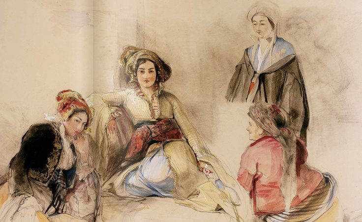 John Frederick Lewis, Four Women in an Interior, 1841 Brussa Pencil, watercolour and bodycolour -the clothes depicted by Lewis with meticulous accuracy reveal the differentiation of costume within social status of the period.