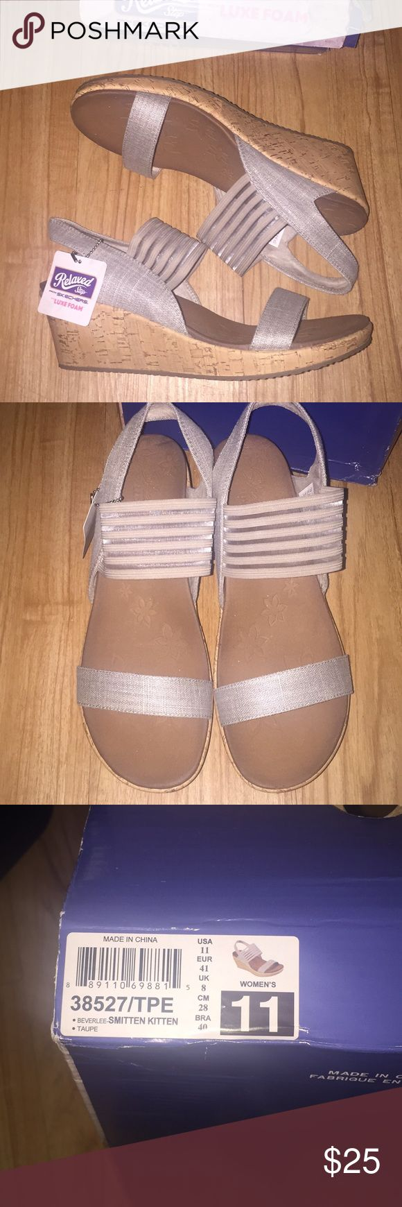 """Skechers Wedges NWT Skechers Wedge Shoes, """"Beverley-Smitten Kitten"""" in taupe, very comfortable (just a little big on me). Skechers Shoes Wedges"""