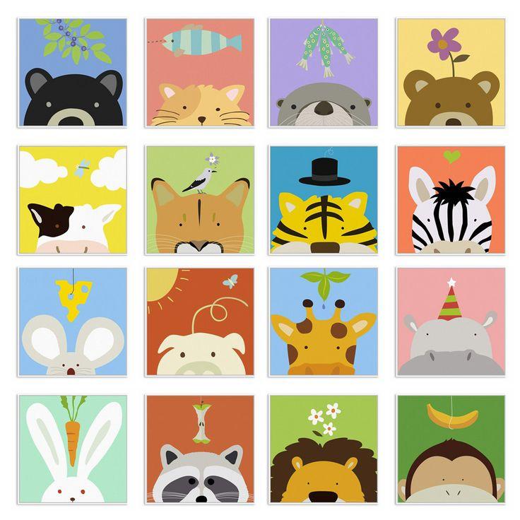 Minimalista Kawaii Mucca Animale Giraffa Del Fumetto Canvas Art Print Poster Nursery Immagine Della Parete Kids Room Decoration Pittura Senza Cornice in da Pittura e calligrafia su AliExpress.com | Gruppo Alibaba