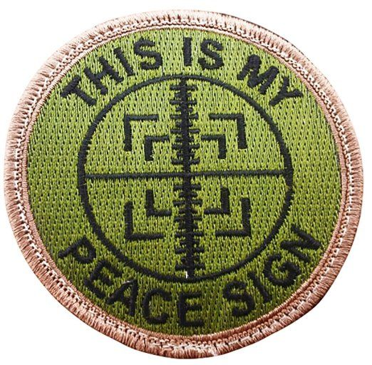 """[Single Count] Custom, Cool & Awesome {3"""" Inches} Small Round US Armed This I s My Peace Sign Text Sniper Scope Cross Hairs (Tactical Type) Velcro Patch """"Green, Tan & Black"""""""