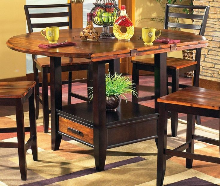 Wonderful Steve Silver Abaco Drop Leaf Counter Height Storage Dining Table In Acacia  Finish