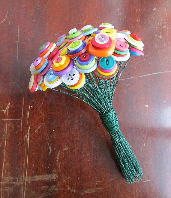 Cute, unique decoration for a little girl's room; bouquet of buttons in the same color family