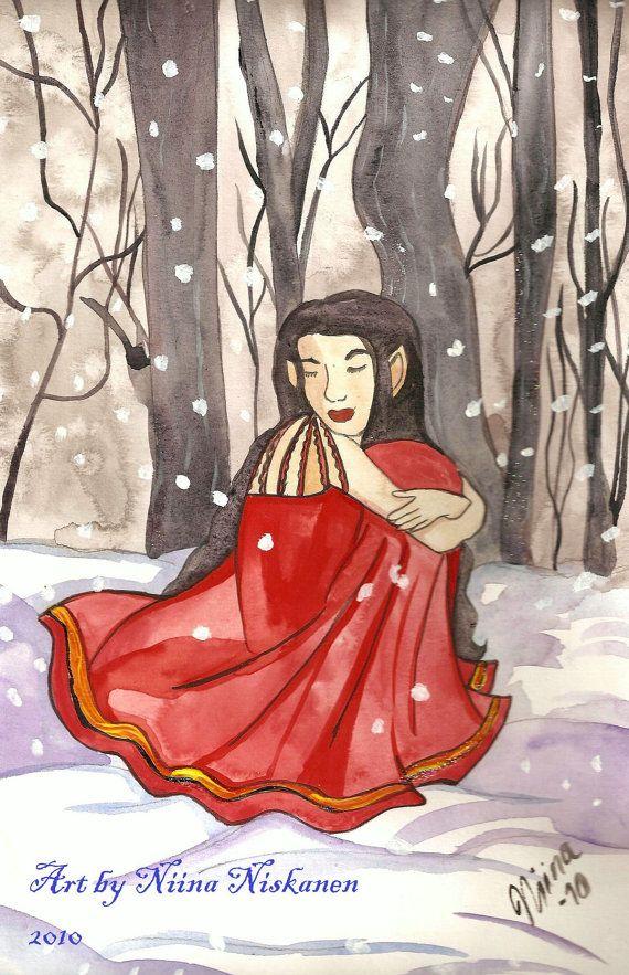 Original Illustration Snow Elf Middle Earth Arwen Watercolors Original Art Winter Nature Painting