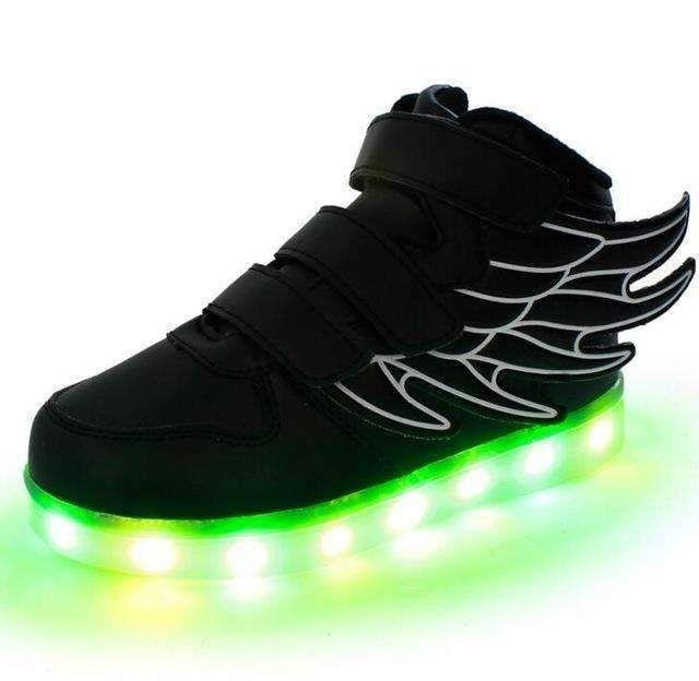 Boys Girls High Top USB Charging LED Light Luminous Shoes Kids Flashing Sneakers