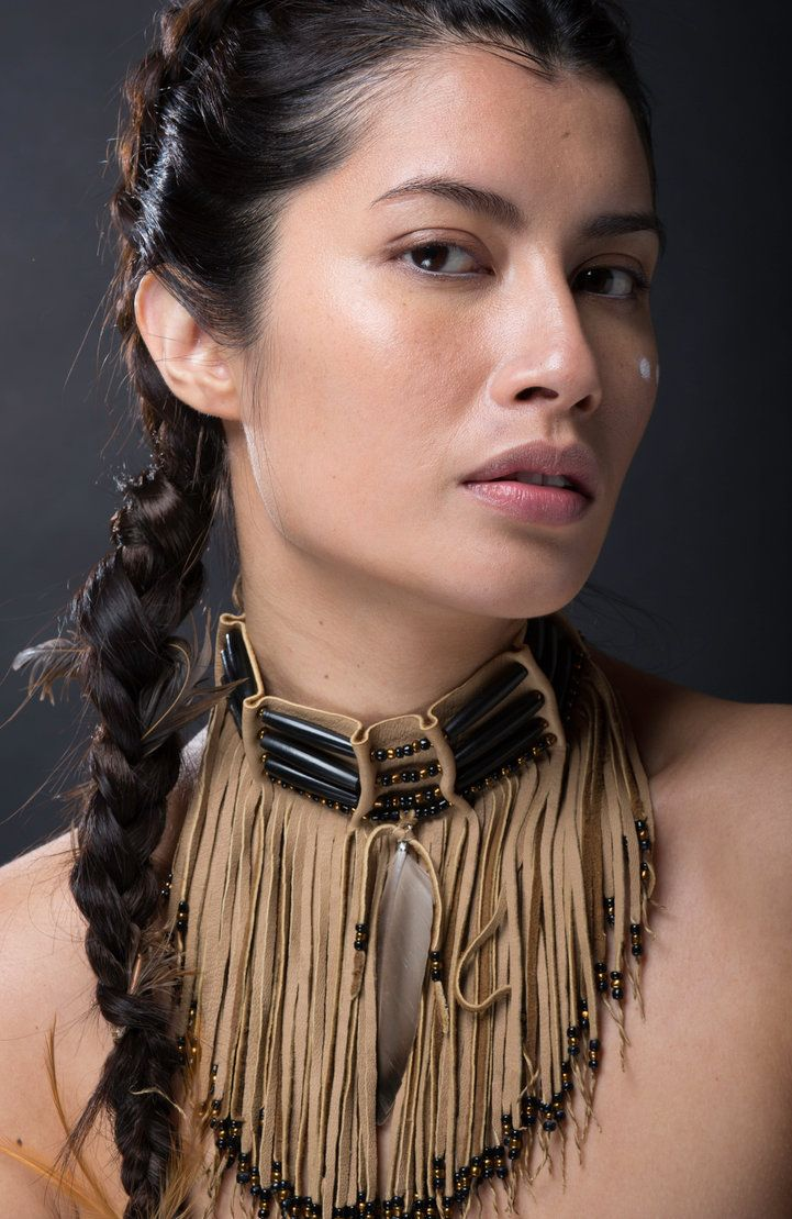 Fire in the Center: Native American leather fringed choker // TribalTerri