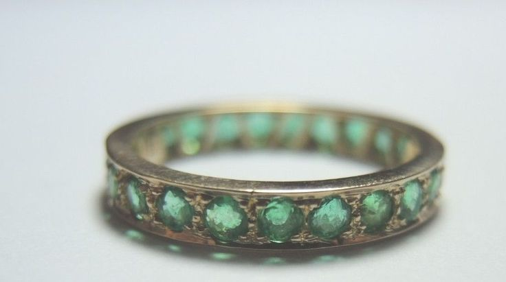 Antique Colombian Emerald Eternity Wedding Band 18K Yellow Gold Ring Size 7 Fine #Handmade #Eternity