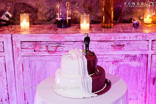Chocolate & White Santorini Wedding Cake by Petran Art Pastry Chef ! I Wedding Event Planner Poema Weddings & Special Events I Flower Design by Wedding Wish I Photography by Vangelis Photography I Wedding Venue Rocabella Suites & Spa