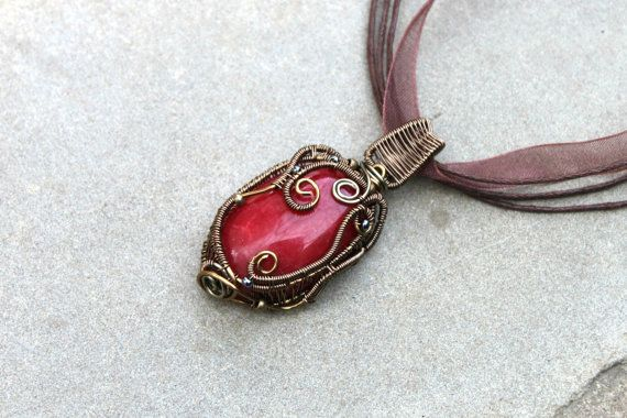 Wire Wrapped Red Agate Pendant Victorian Necklace by rsuniquejewel