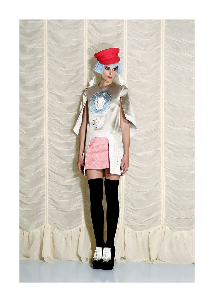 ANA LJUBINKOVIC beige dress FW 14 / photographer Miloš Nadaždin / model Ivana Momirov @ Fox model / hair O'livio Unisex Hair Salon & Cosmetics / makeup Marko Nikolić #ana_ljubinkovic #FW14 #lookbook #ornaments #kitsch #art #fashion #dress #cap