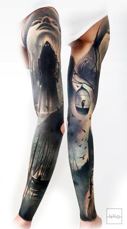 +++  Badass Norwegian Sleeve by Rainer Lillo / Backbone tattoo / Est  instagram.com/l_i_l_l_o  Bird tattoo, Bird cage, Realistic tattoo, boat tattoo, forest tattoo, darkart, black, true passion tattoo, life  +++