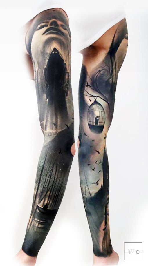 +++  Badass Norwegian Sleeve by Rainer Lillo / Backbone tattoo / Est  instagram.com/l_i_l_l_o  Bird tattoo, Bird cage, Realistic tattoo, boat tattoo, forest tattoo, darkart, black, true passion tattoo, life  +++