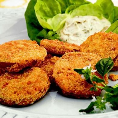 Fried Green Tomatoes with Basil Mayonnaise. I've tried so many FGT recipes, but this has proven to be the best!