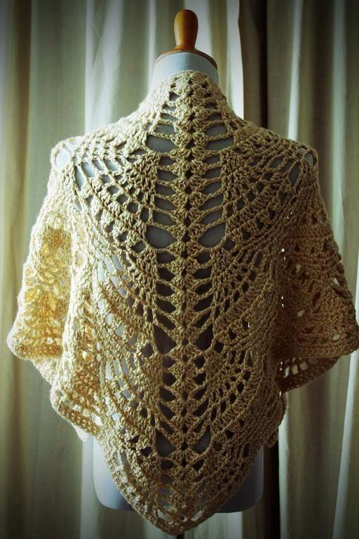 "Pineapple shawl-Bernat Satin worsted weight yarn, 2 skeins (326yd total) in ""Camel"" J hook"