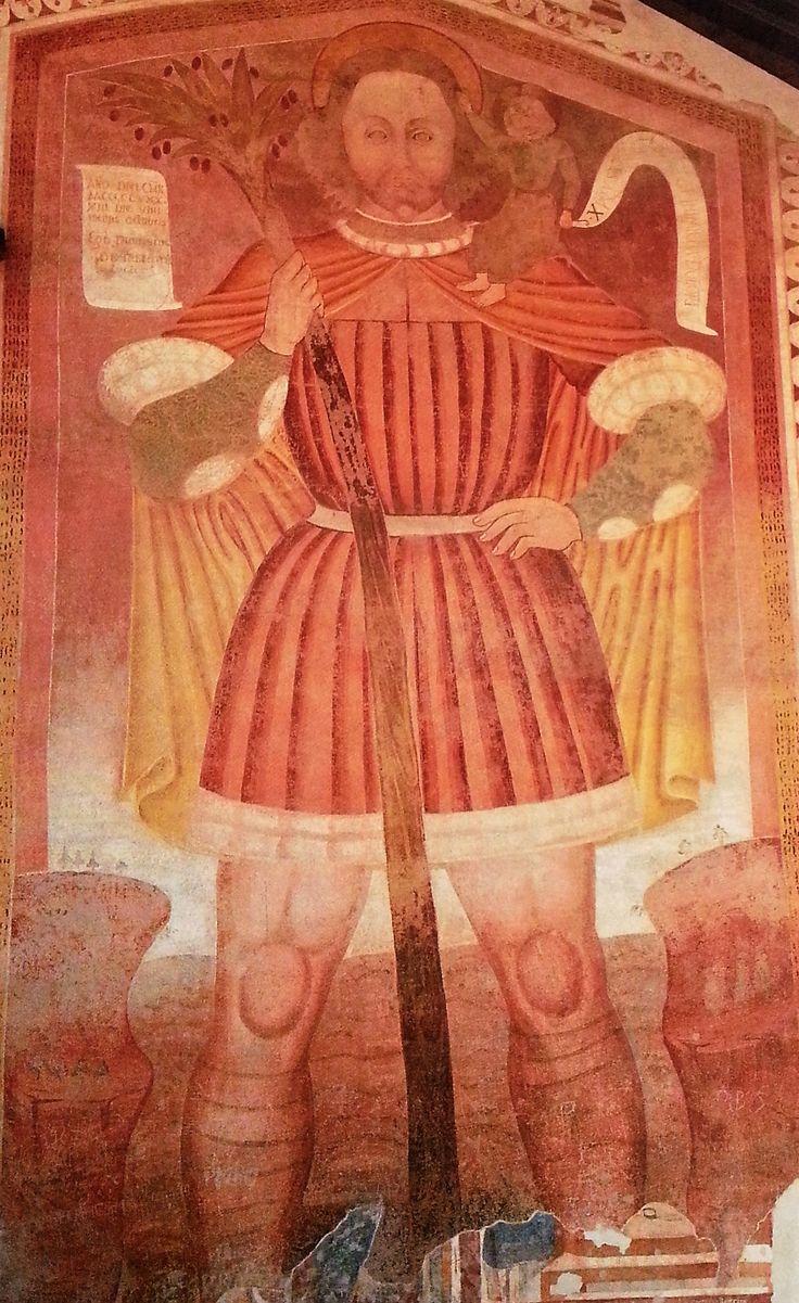 Dioniso Baschenis - San Cristoforo  - affresco - 1493 circa - Pelugo (Trentino), Chiesa di Sant'Antonio Abate