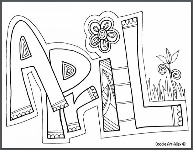 12 coloring pages of april fools day - Print Color Craft | 494x635